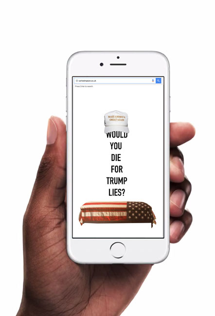 """Political Design, Hand holding Iphone """"American Flag"""""""