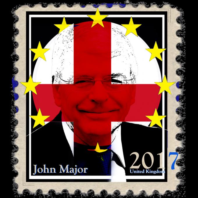 John Major Politics Design stamp with Yellow stars
