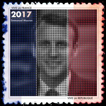 Emmanuel Macron Politics Design stamp with French Flag